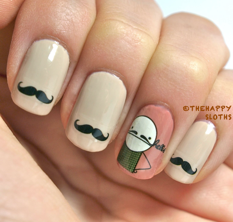 Mustache nails manicure featuring mustache water decal stickers here are some close ups i trimmed a few designs so i only had the mustaches the stickers melds into the base color quite well and the clear outlines of prinsesfo Image collections