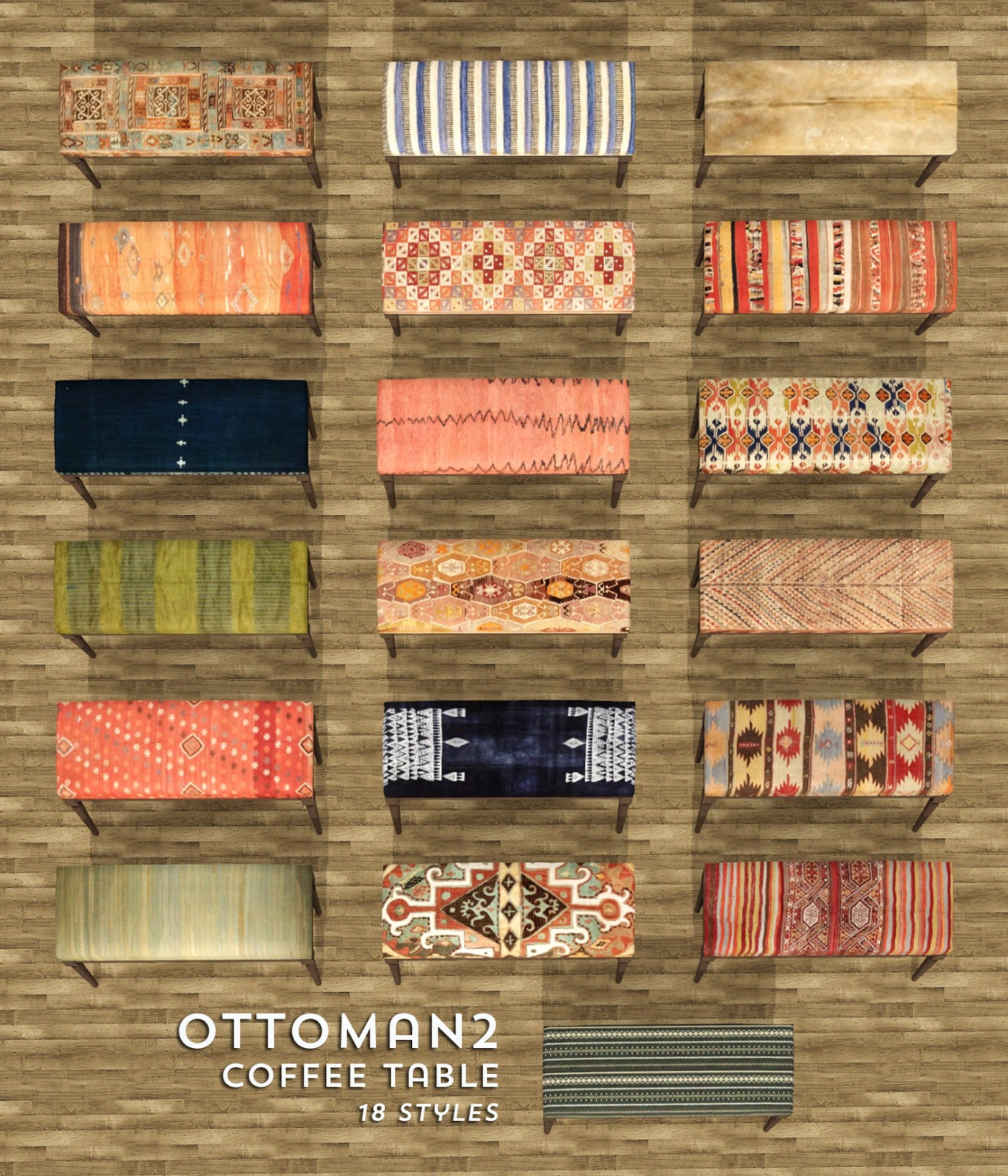 My Sims 4 Blog Kilim Stools Coffee Table Ottomans and Rugs by Bau
