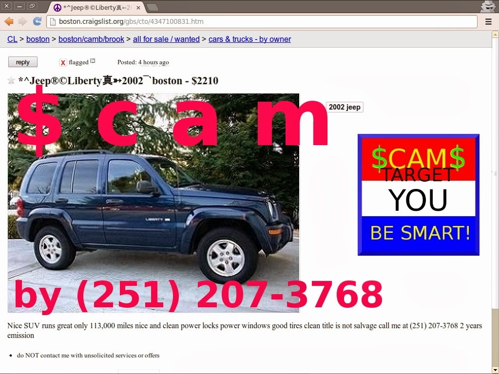 Vehicle Shipping Scam Ads On Craigslist Update 02 23 14