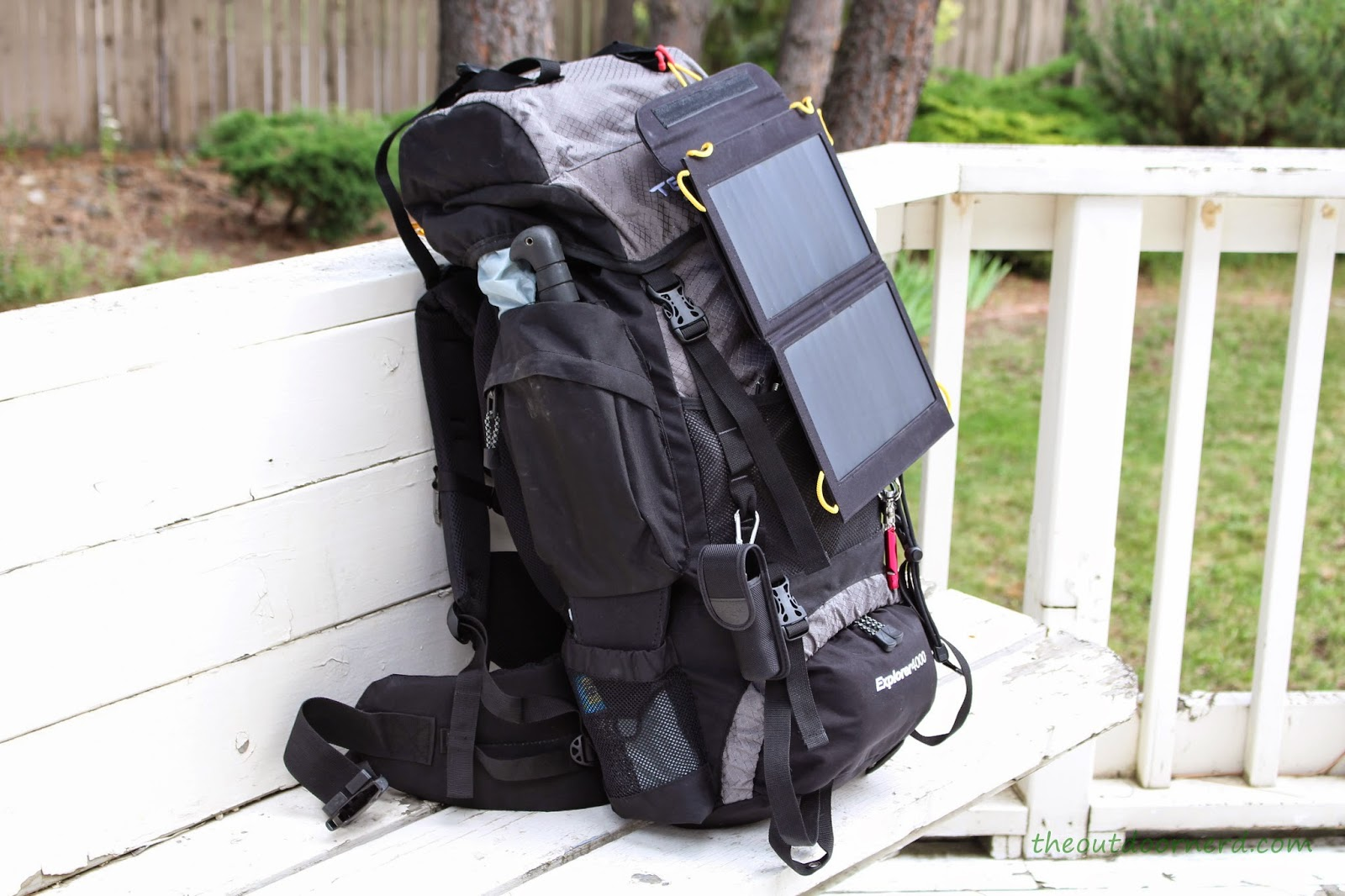 Levin Sol-Wing 13W Solar USB Charger: Attached to Teton Explorer 4000 Backpack: Side View