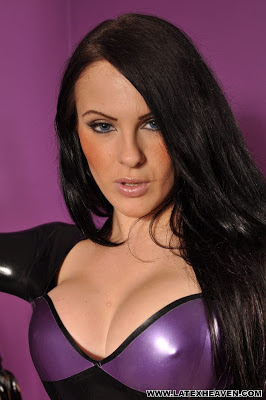 Sexy Sultry Emma Herron in Tight Black and Purple Latex