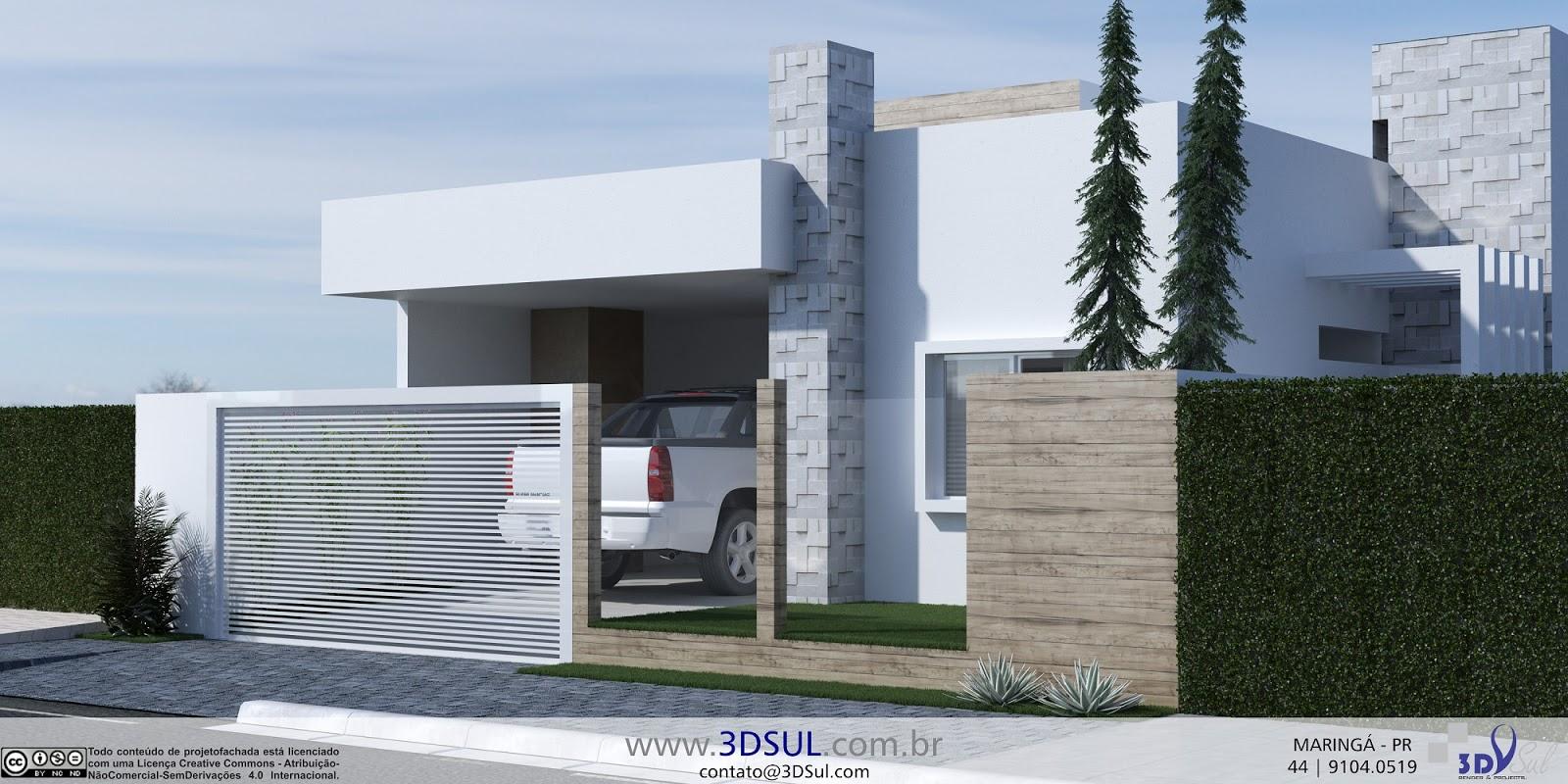 Arquitetura 3D Fachada Moderna Casa Simples Quadrada (Marin  #40618B 1600x800 Arquitetura De Banheiro Simples