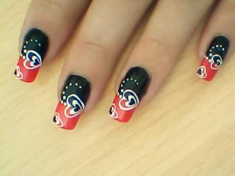 Manikir-obuka-tutorijal-3-(crveno-crni-nail-art-nokti)-016