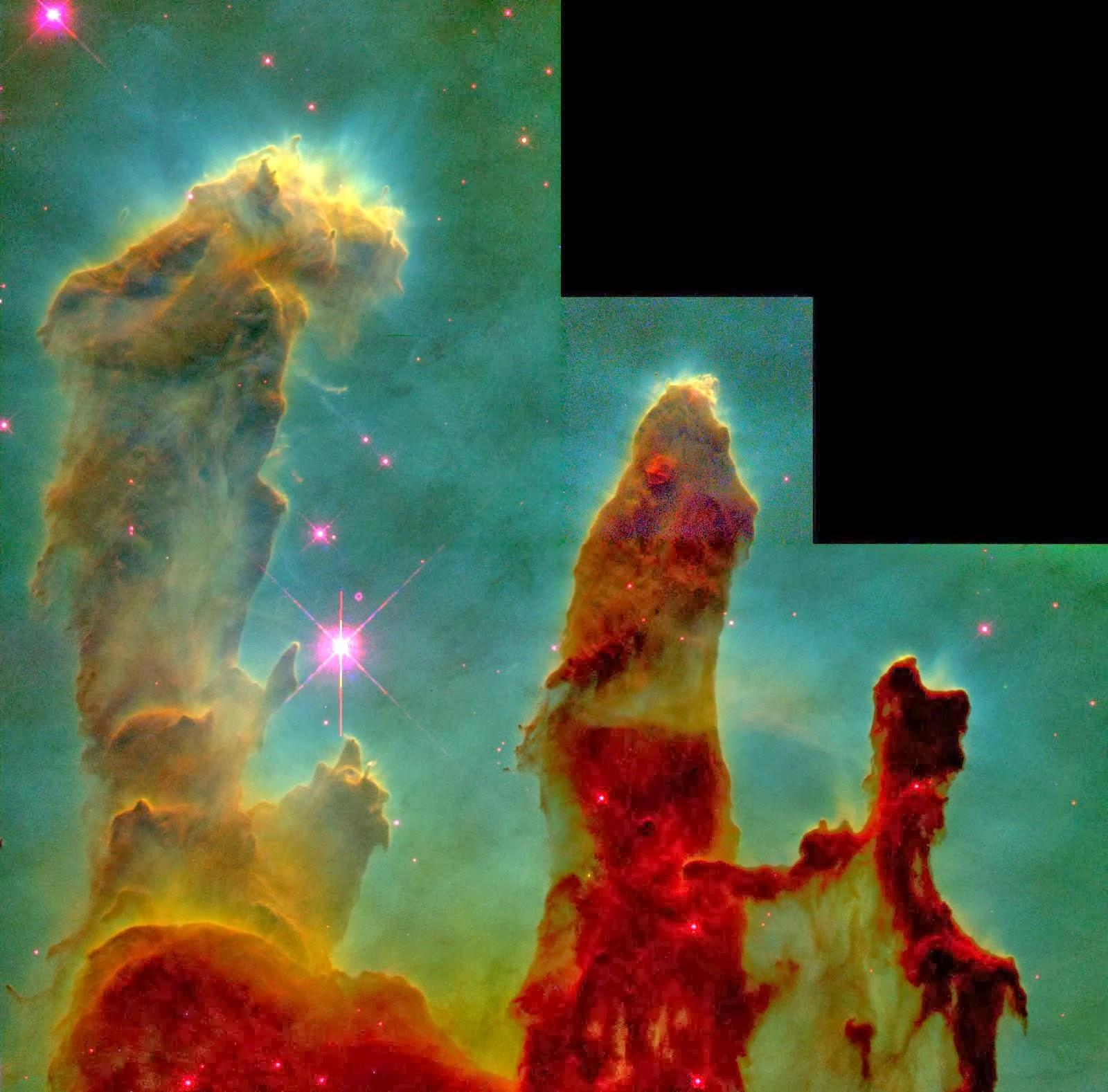 """Os """"Pilares da Criação"""" no interior da Nebulosa da Águia. http://hubblesite.org/newscenter/newsde"""