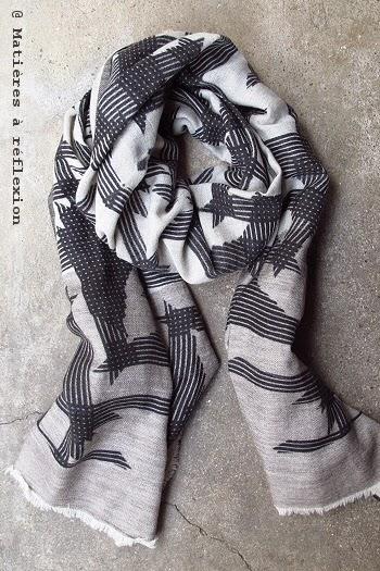 Foulard graphique noir & blanc Ma Poésie