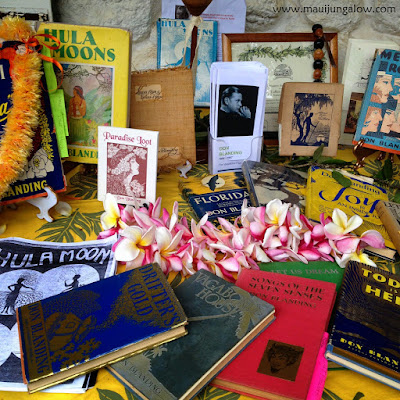 Display of books by Don Blanding, credited with founding May Day in Hawaii, display at the Bailey House Museum