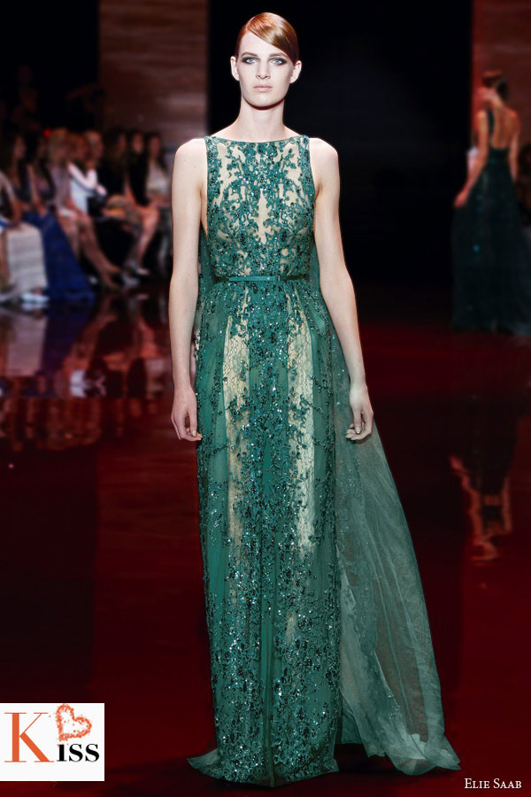 Green Elie Saab Fall/Winter 2013-2014 Couture
