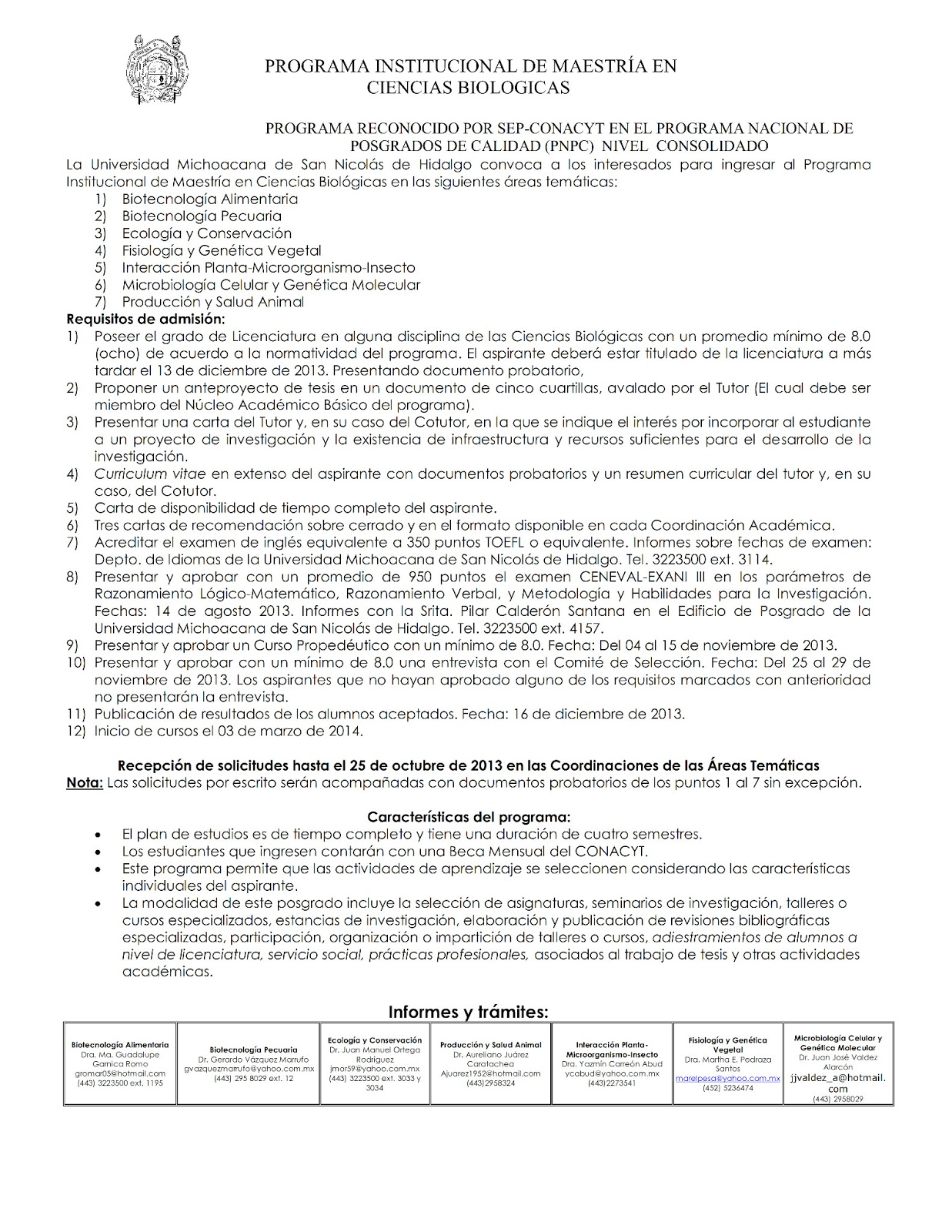 CONVOCATORIA 2013 PROGRAMA INSTITUCIONAL DE MAESTRIA EN CIENCIAS