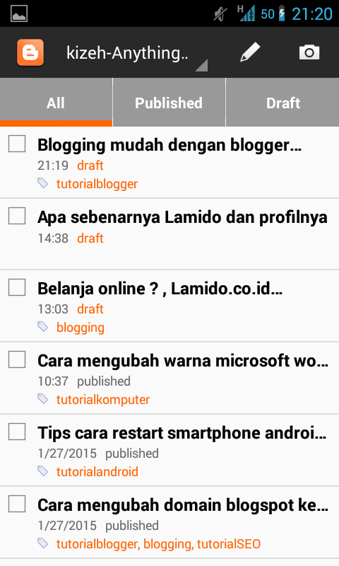 Blogging mudah dengan blogger mobile