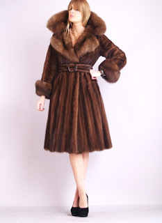 Vintage 1960's belted brown sable fur coat with large collar and cuffs.