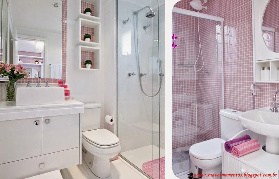 Suaves Momentos Projetinho Decoração Banheiro -> Banheiro Pequeno Decorado Rosa