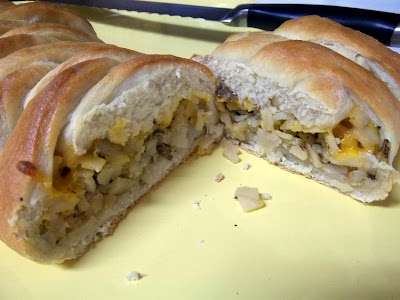 Breakfast Braid filled with sausage, cheese and potatoes