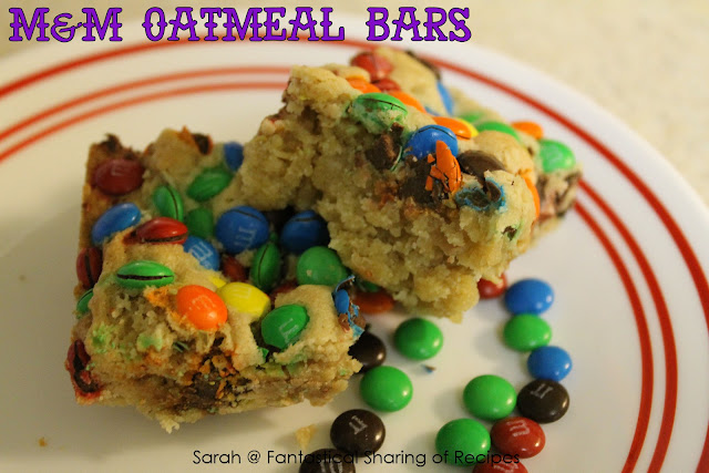 M&M Oatmeal Bars - don't let the oatmeal part fool you - they will knock your socks off!