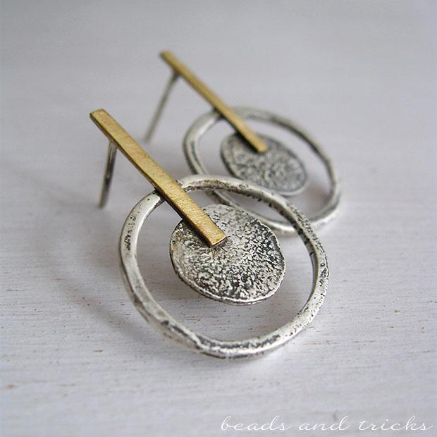 Orecchini in argento da scarti e ottone similoro