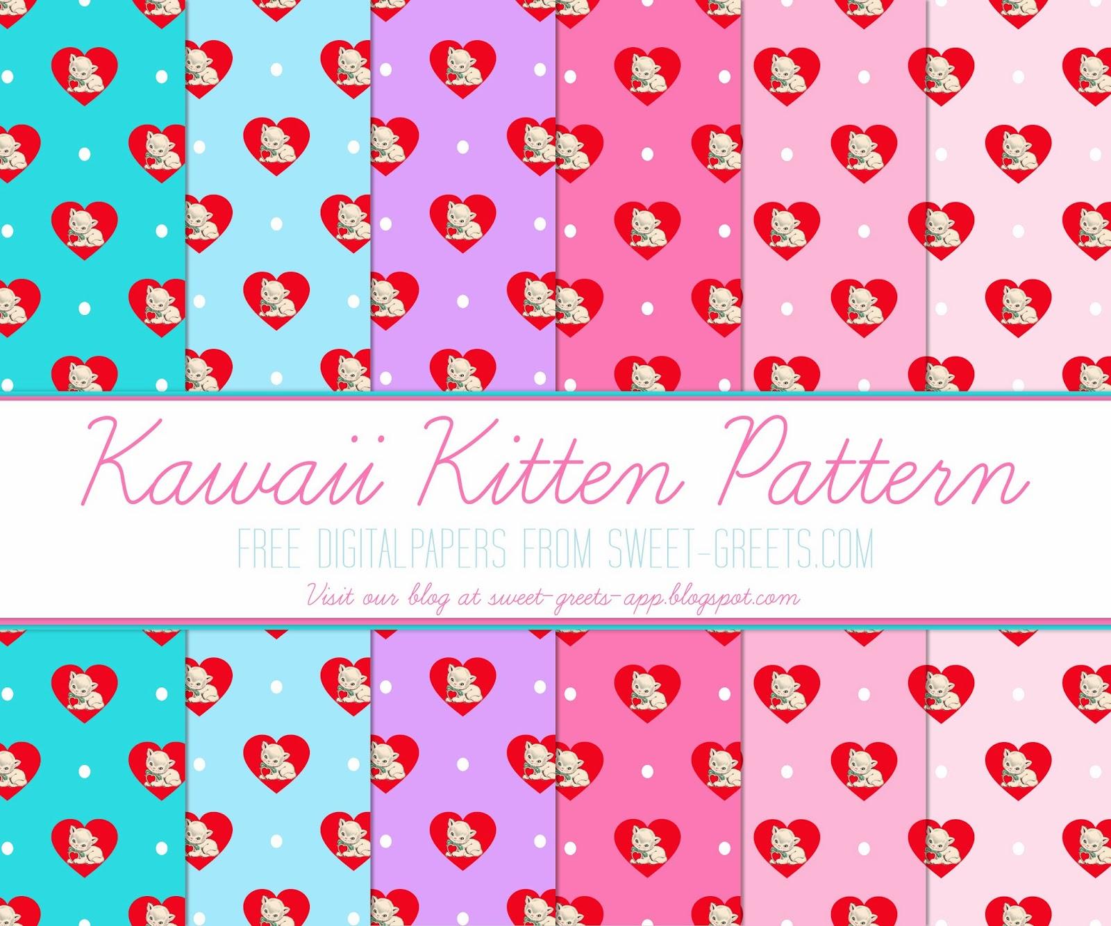 Free Digital Paper: Kawaii Kittens