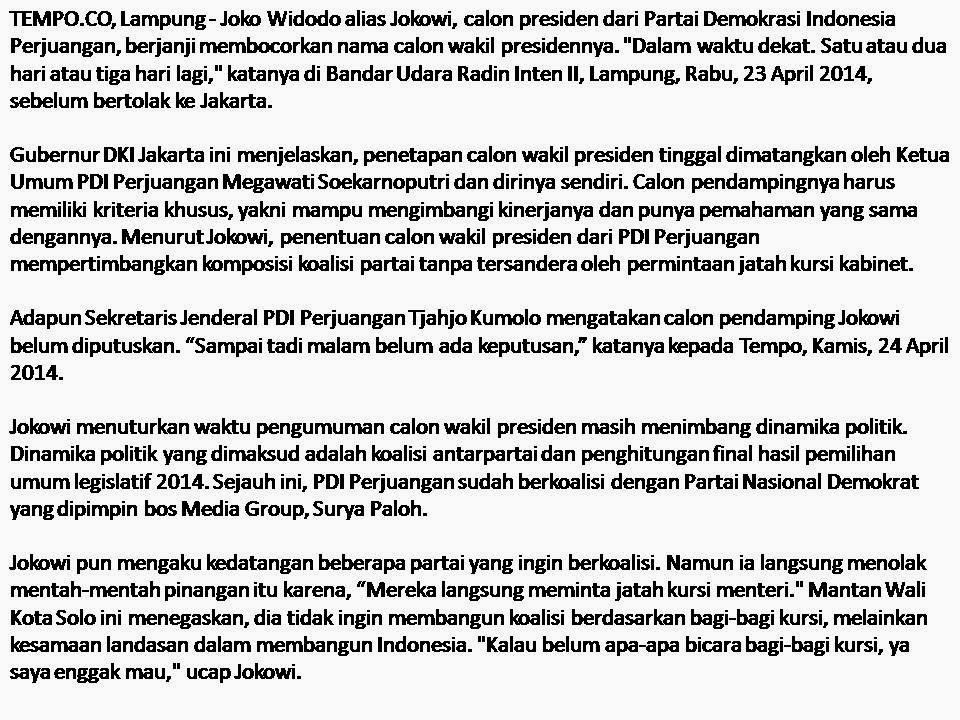 Pekan Ini Jokowi Punya Calon Wakil Presiden