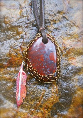 Leather, copper and fine silver feather, netted stone pendant