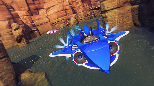 Sonic the Hedgehog in flying vehicle in Sonic & All-Stars Racing Transformed