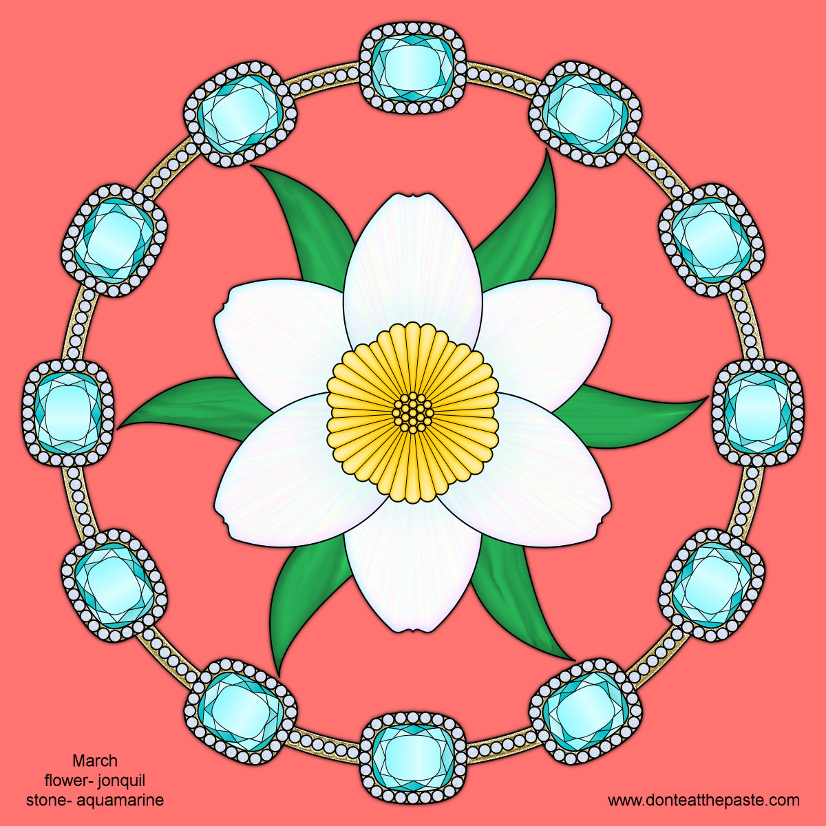Don\'t Eat the Paste: March Birthstone and Flower Mandala