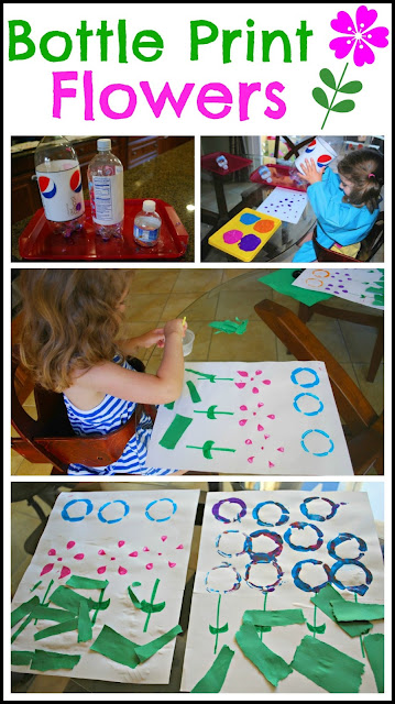 Bottle Print Flowers - Simple to create eye catching art using recycled soda bottles.