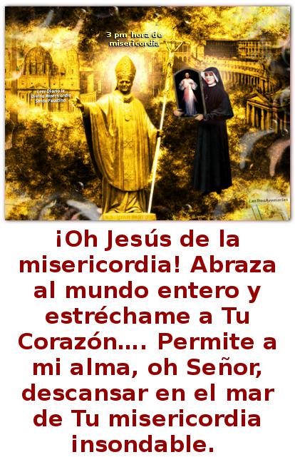 el papa juan pablo segundo con una oracion a jesus misericordia