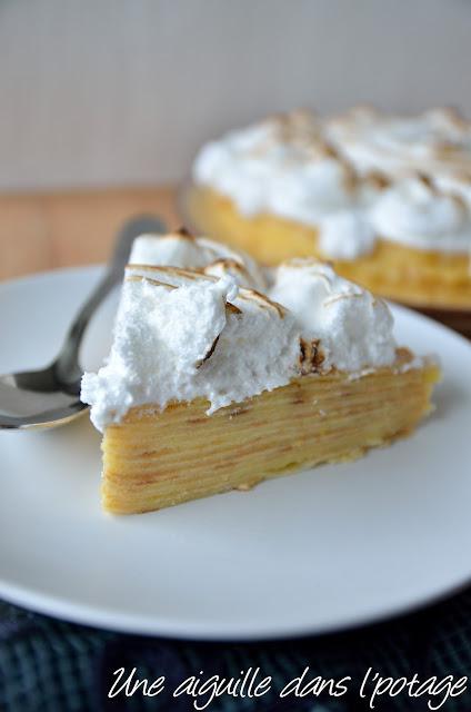 Gâteau de crêpes, façon tarte au citron meringué