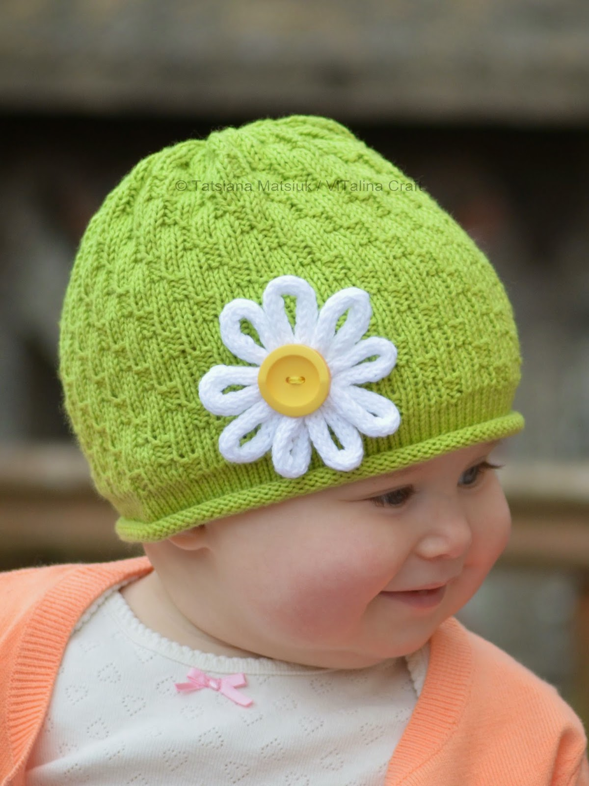 My daisy flower hat knitting pattern vitalina craft the hat is knitted with light green egyptian cotton and it is a perfect garment for this time of year like my previous hats this one is also knitted in the izmirmasajfo