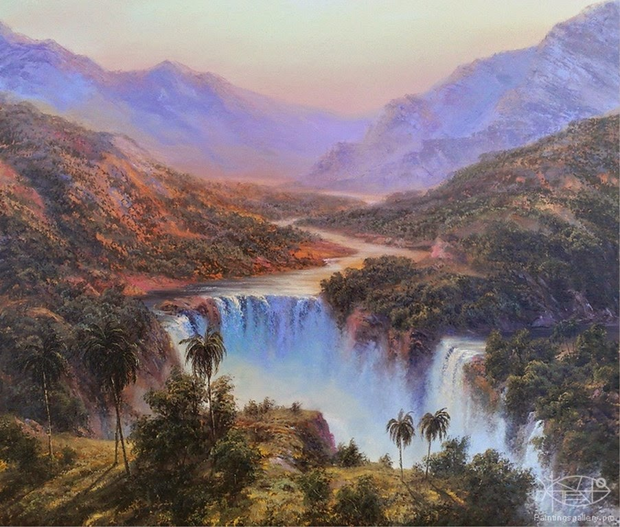 paisajes-de-cascadas-naturales-pintura-realista