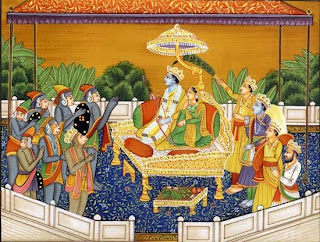 Sita and Rama are enthroned on their return to Ayodhya by Rama's brothers, by Vibhisana from Lanka, and by the monkeys and bears.