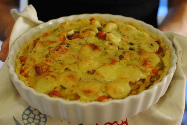 kycklingpaj, paj, kyckling, curry, banan, recept, laga, blogg, pajer, paprika,