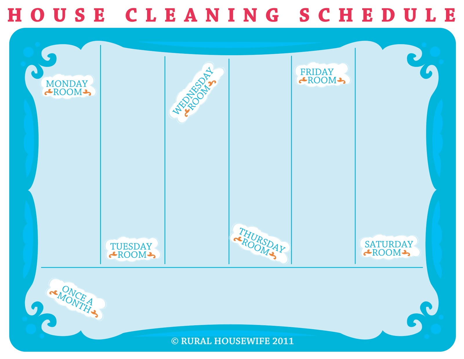 rural housewife cleaning schedule template. Black Bedroom Furniture Sets. Home Design Ideas