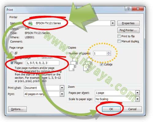 Gambar: Cara mencetak halaman secar tidak berurutan dengan jumlah tertentu di Microsoft Word 2007
