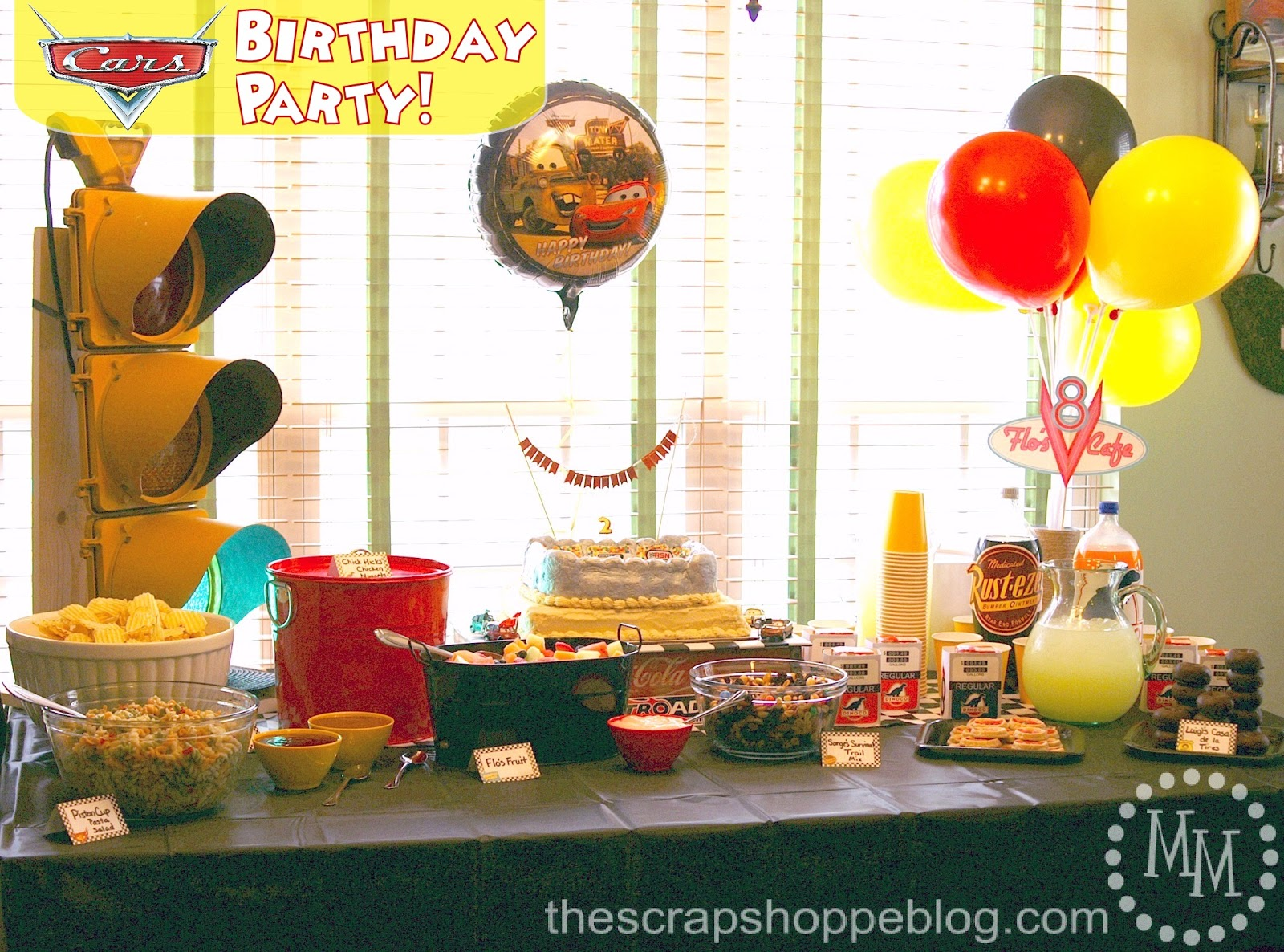Cars Birthday Party The Scrap Shoppe JPG 1600x1186 Decorations