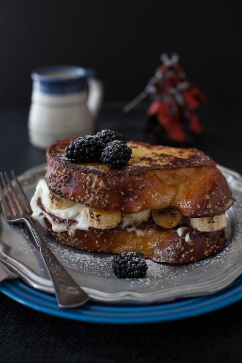 Challah French Toast with Bruléed Bananas, Nutella and Whipped Cream ...