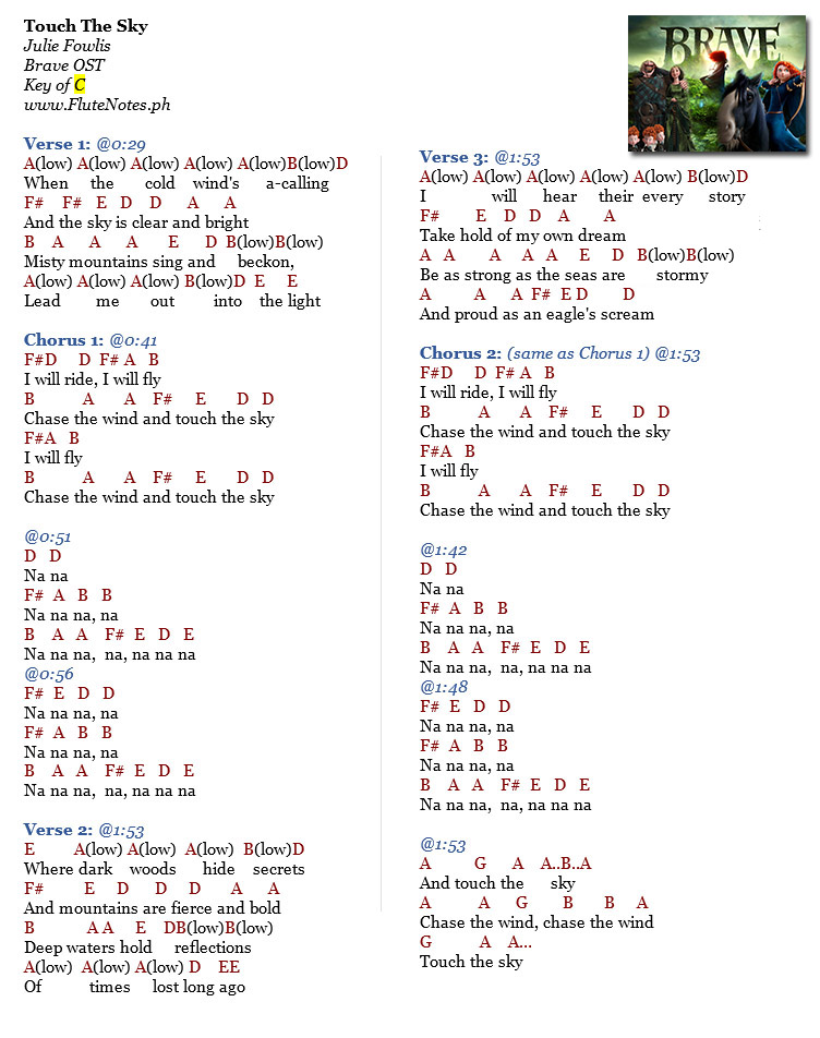 Lyric lyrics for brave : Touch The Sky - Julie Fowlis (Brave OST) | Music Letter Notation ...