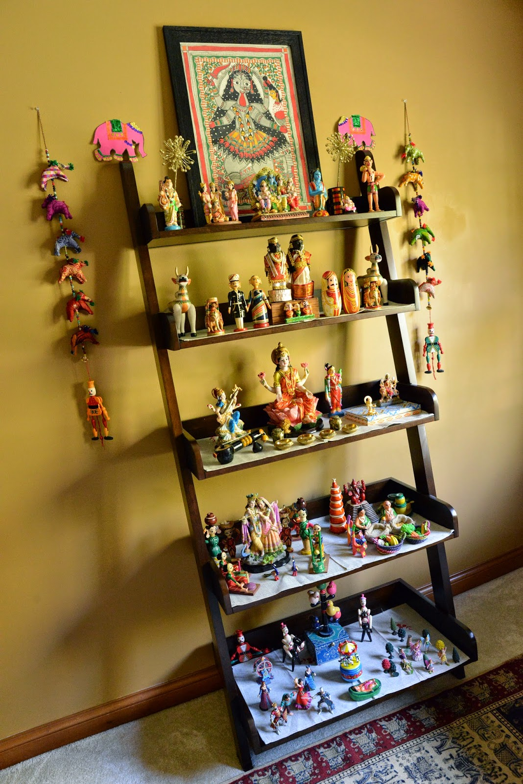 I moved it to our study this year and used the same étagère to display my dolls. By simply moving it to another location and using a different wall color as ... & Aalayam - Colors Cuisines and Cultures Inspired!: Dasara Bombe ...