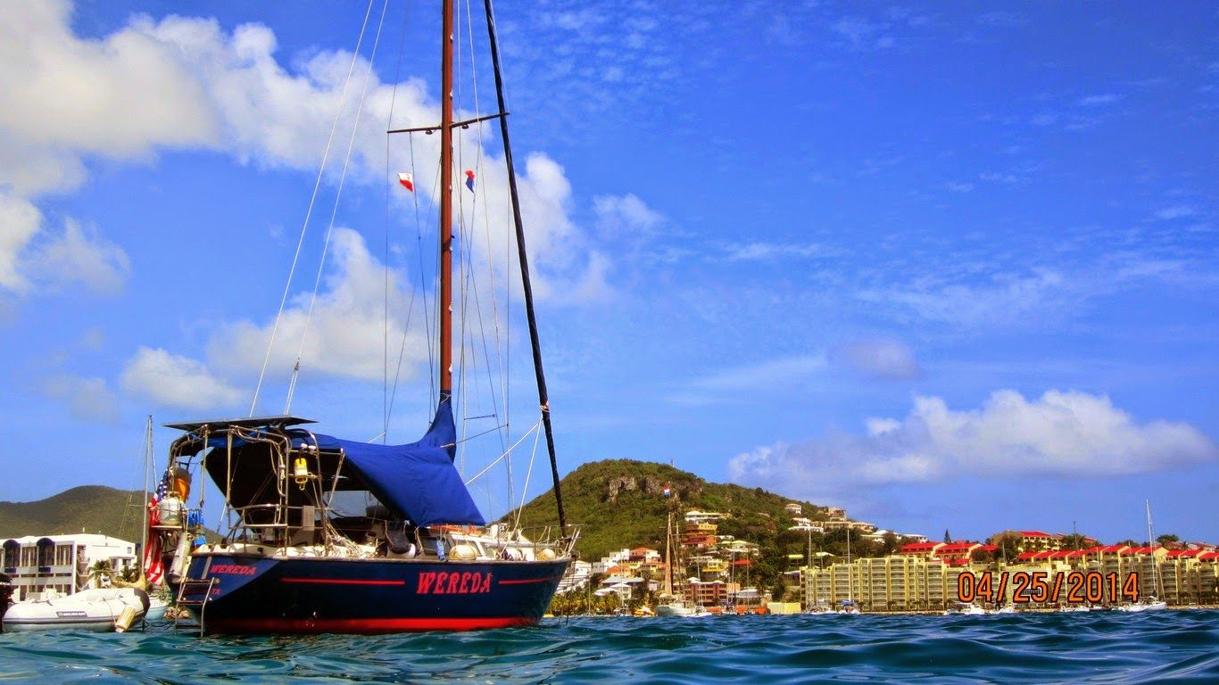 Wereda at anchor in Simpson Bay, Sint Maarten