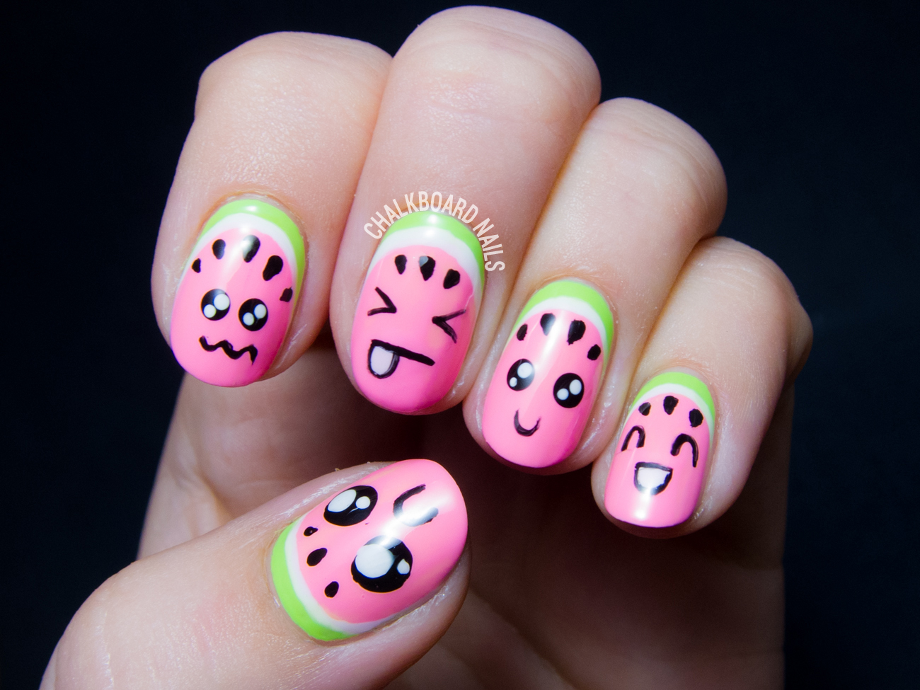 Kawaii watermelon nail art by @chalkboardnails - Kawaii Watermelons, Or How To Make Your Fruit Cute Chalkboard