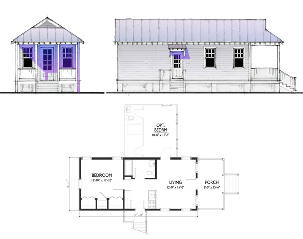 front side elevations and floor plan for for a 576 square foot model note optional second bedroom - Katrina Cottage Plans