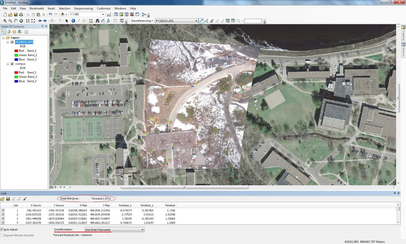 figure 2 the second image i georeferenced again the rms is circled and the transformation is underlined the image is really far off on the top right