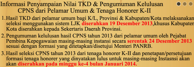 Update Pengumuman Kelulusan Hasil Tes TKB TKD Di Kementrian Tahun 2013
