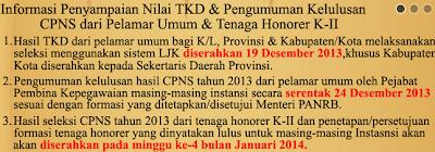 Pengumuman Hasil TKD CPNS Umum 24 Desember 2013