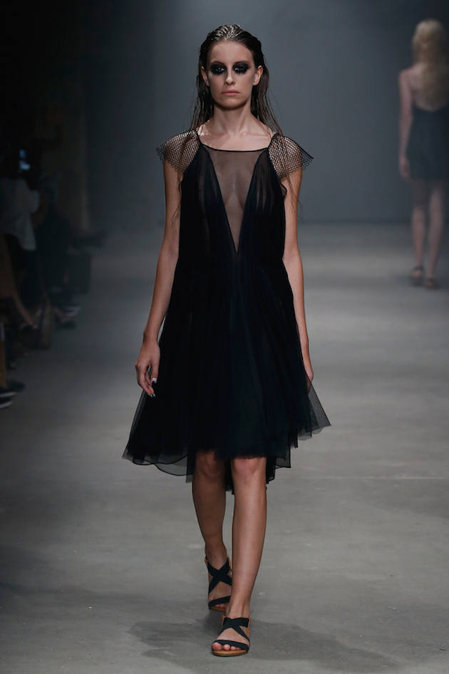 Leanne Marshall, black silk dress, spring 2016