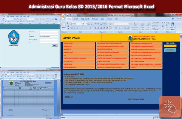 Administrasi Guru Kelas SD 2015/2016 Format Microsoft Excel
