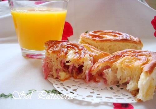 Petits pains roulés au jambom et au fromage - Pãezinhos enrolados de presunto e queijo