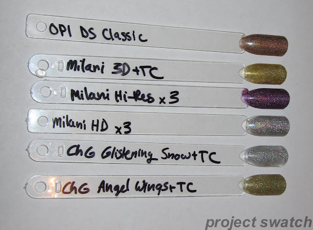 scattered holo swatches
