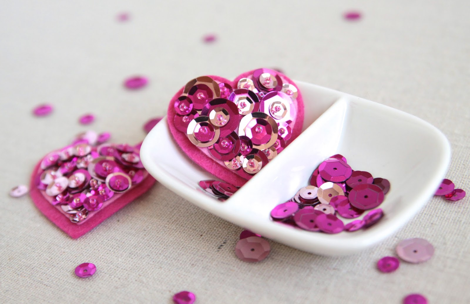 diy sequin hearts