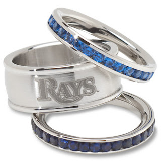 Tampa Bay Rays MLB Crystal Stacked Ring Set