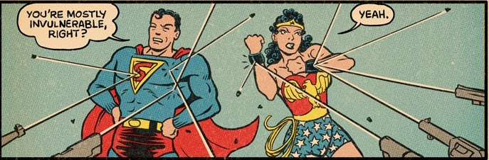 Bullet Bouncing by by Kerry Callen. Superman created by Jerry Siegel and Joe Shuster. Wonder Woman created by William Moulton Marston.