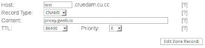 registro CNAME para gweb.io